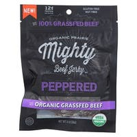 Organic Prairie Mighty Beef Jerky - Peppered - Case of 8 - 2 oz.