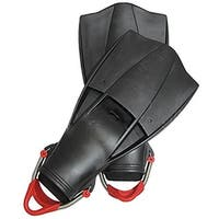 Scuba Diving Free Dive Spearfishing Black Rubber Fins w/ SS Spring Heel Straps
