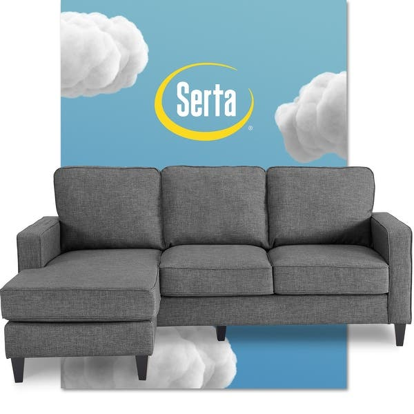 Serta Harmon 80 Inch Reversible Sectional Sofa On Sale Overstock 29077612