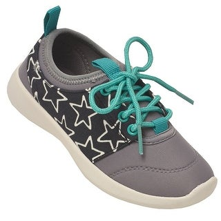 Chooze Girls Gray Letter Star Lace-Up Closure Trendy Sneakers