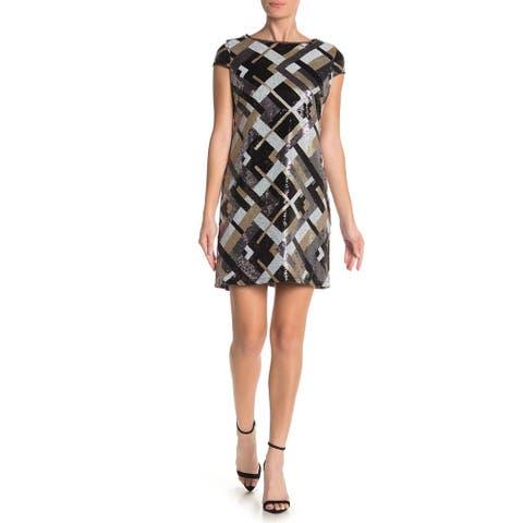 MARINA Womens Black Cap Sleeve Short Sheath Evening Dress Size 6