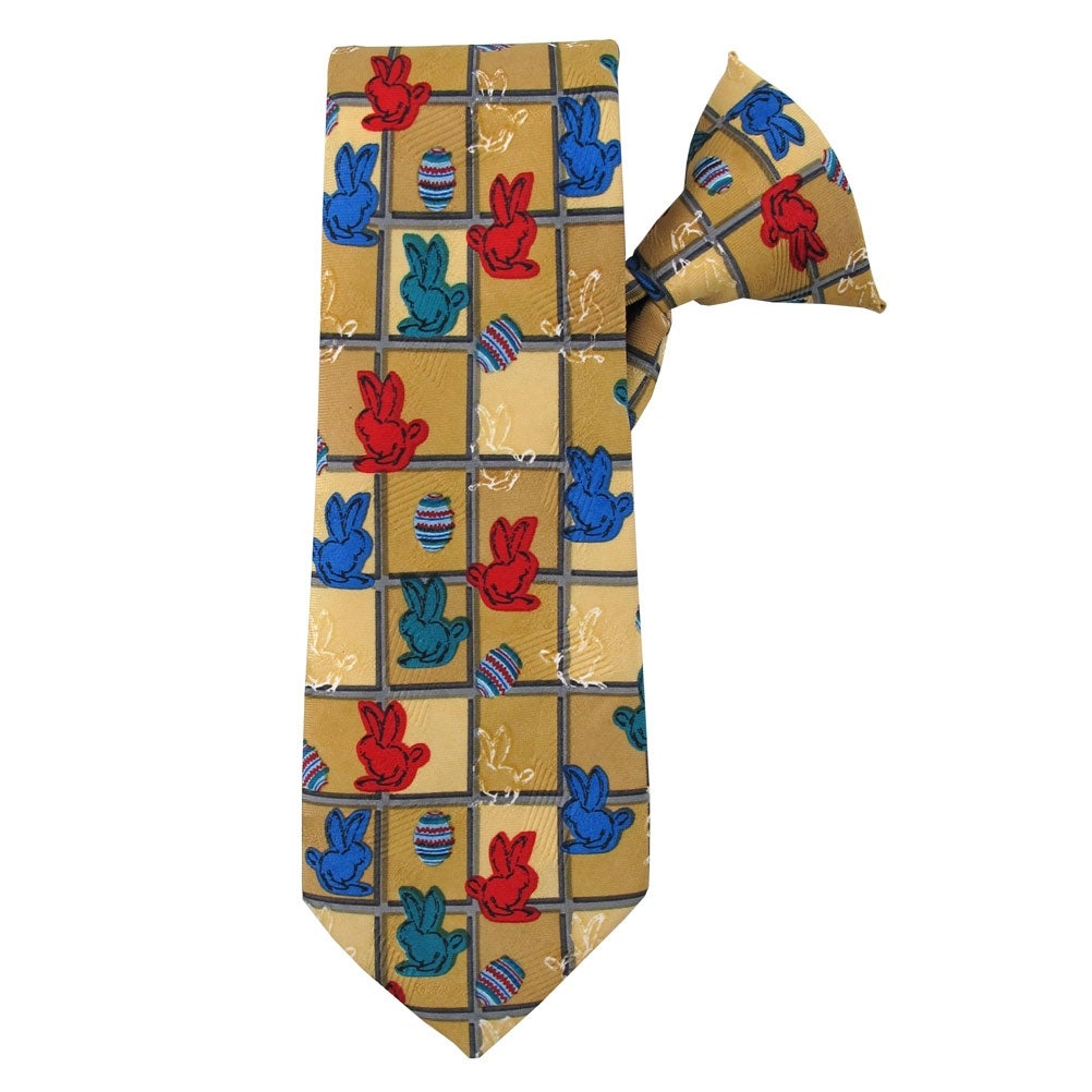 Jacob Alexander Boys Colored Easter Eggs Blue 14 inch Clip-On Neck Tie