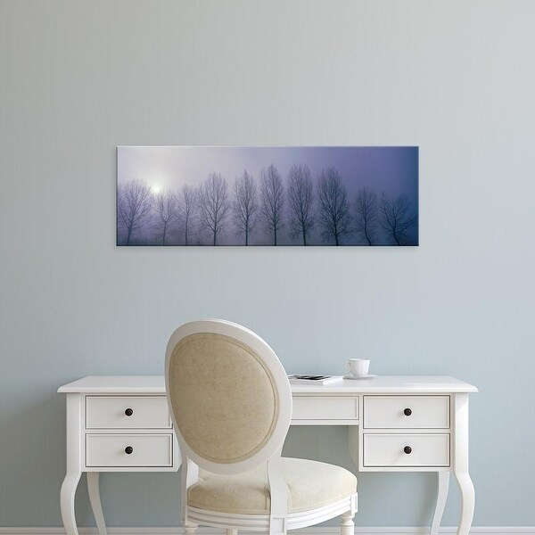 Easy Art Prints Panoramic Images's 'Trees in Mist Damme Belgium' Premium Canvas Art