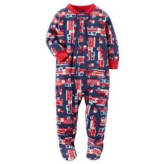 Carter's Baby Boys' 1 Piece Firetruck Fleece Pajamas, 6 Months - Rescue Me