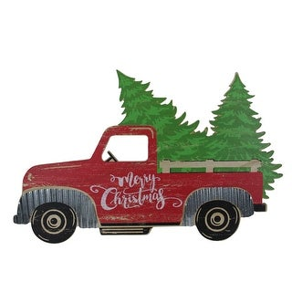 """31"""" Red Wooden """"Merry Christmas"""" Pick Up Truck Christmas Tabletop Decoration - N/A"""