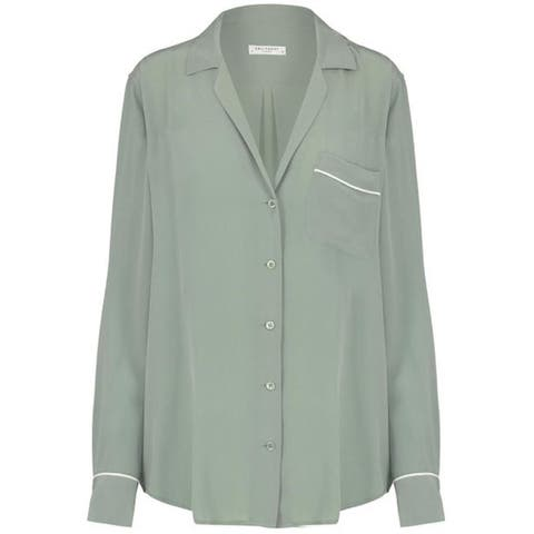 Equipment Keira Piped Silk Shirt Olive Branch