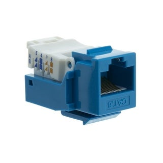 Offex Cat6 Keystone Jack, Blue, Toolless, RJ45 Female