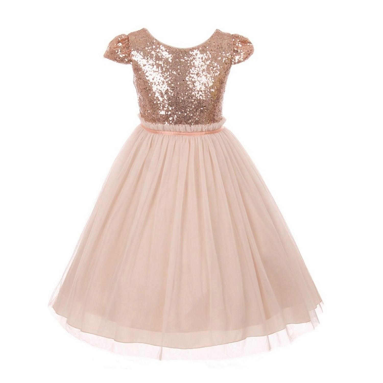Kids Dream Girls Blush Sequins Tulle Plus Size Easter Dress