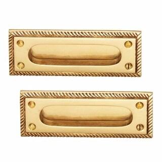 2 Georgian Rope Recessed Sash Lift Bright Brass