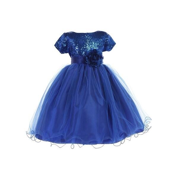 8e4fc6cee3 Ellie Kids Little Girls Royal Blue Sequin Tulle Wire Hem Flower Girl Dress  4-6