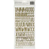 "Little Wonders Thickers Stickers 5.5""X11"" 2/Pkg-Alphabet/Gold Chipboard"