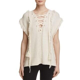 Pam & Gela Womens Baja Pullover Sweater Knit Fringe - S