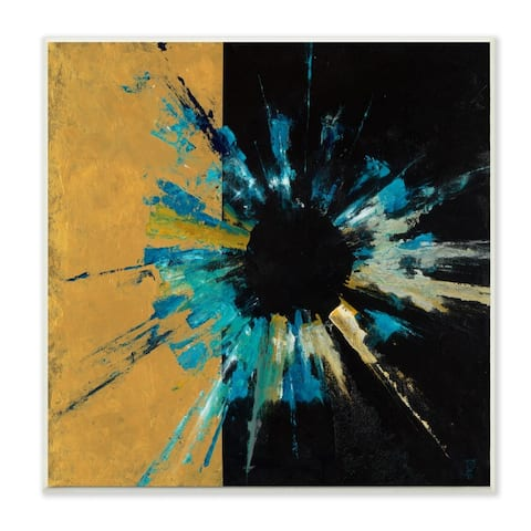 Stupell Industries Abstract Retinal Circle over Black and Gold Wood Wall Art,12x12 - Multi-Color