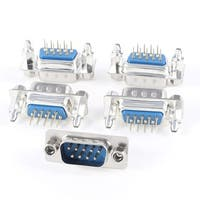 DB9 9 Pin 2 Row Lock Screw Straight Male Plug D-sub PCB Connector 5 Pcs