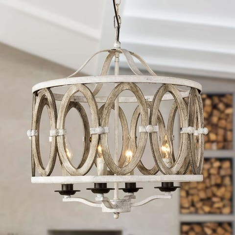 Farmhouse Entwined Ovals 4-Light Wooden Chandelier