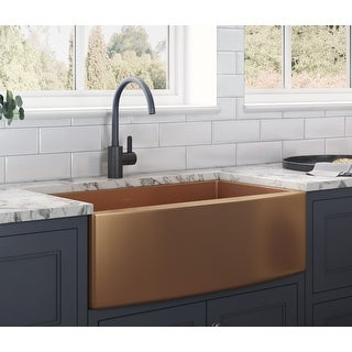 Link to Ruvati 30-inch Apron-Front Farmhouse Kitchen Sink - Copper Tone Matte Bronze Stainless Steel Single Bowl - RVH9660CP - 8' x 11' Similar Items in Sinks