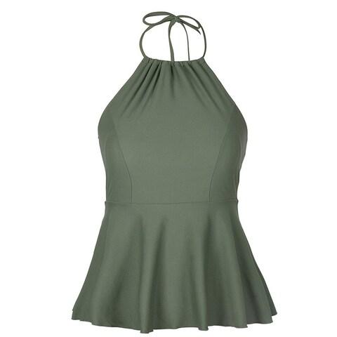 Hilor Green Womens Size 6 Tankini Top High-Neck Peplum Swimwear