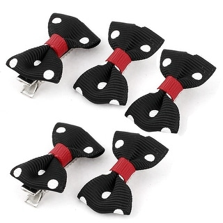 Pet Dog Puppy Dots Pattern Bowknot Grooming Hairpin Barrette Clip 5 Pcs Black