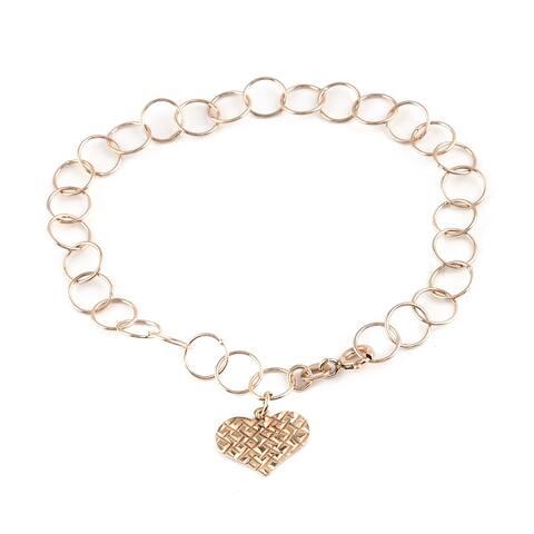 Shop LC Rose Gold Over 925 Sterling Silver Link Bracelet Size 7 Inch - Bracelet 7''
