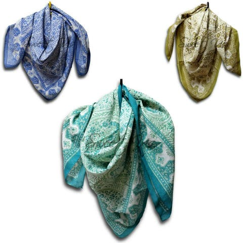 Scarf for Women Sheer Soft Cotton Paisley Floral Green Blue Tan Square Linen Bandana Face Mask