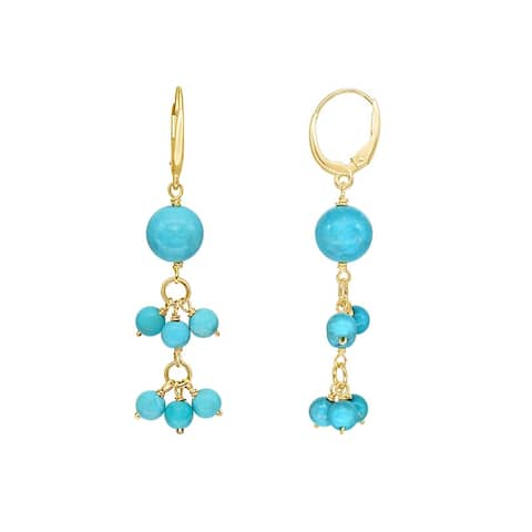 14K Turquoise Cluster Drop Leverback Earring