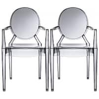 2xhome - Set of Two (2) - Smoke - Modern Plastic Chair Armchair With Arm Polycarbonate Plastic