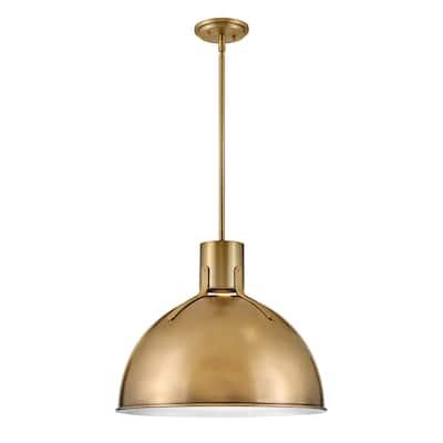 "Hinkley Argo Collection 20"" 6.5W One Light GU10 LED Pendant, Heritage Brass/Textured Black"