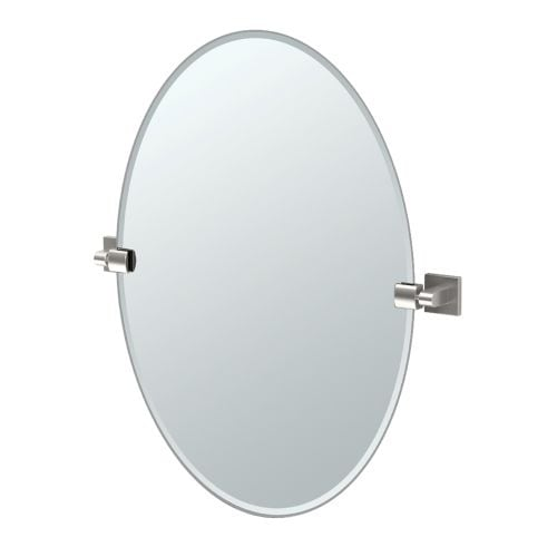 """Gatco 4079 Elevate 24"""" Oval Beveled Wall Mounted Mirror with Satin Nickel Accents"""