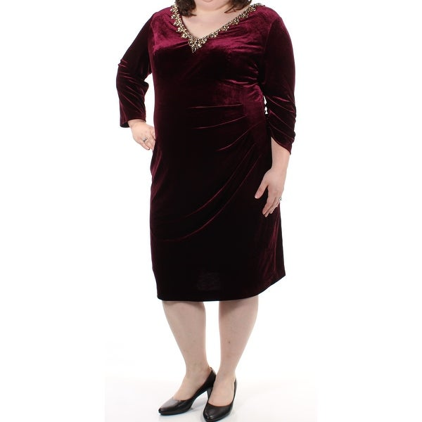 fa42189d68 Shop ALEX EVENINGS Womens Burgundy Beaded Velvet 3 4 Sleeve V Neck Knee  Length Sheath Evening Dress Plus Size  18W - Free Shipping On Orders Over   45 ...