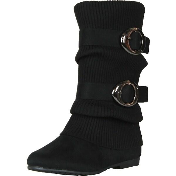 Anna No60 Women's Knitting Shaft Flat Bottom Boots - Brown - 5.5 b(m) us