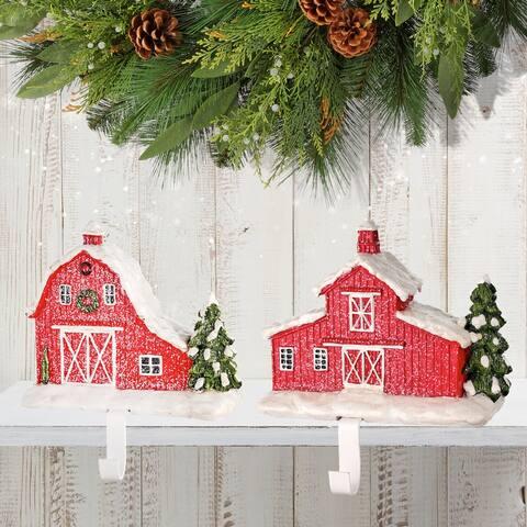 """8"""" Resin Red Barn Stocking Holder Set of 2"""