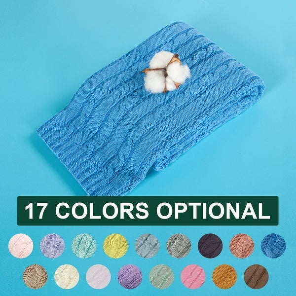 """NTBAY Super Soft Cozy Solid Color Cotton Cable Knit Toddler Throw Blanket Hypoallergenic 30"""" x 40"""". Opens flyout."""