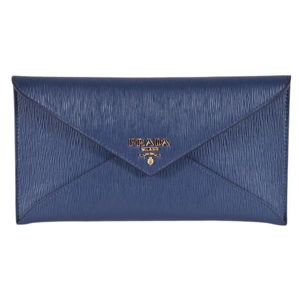Shop Prada 1mf175 2ezz Blue Vitello Saffiano Leather Flap
