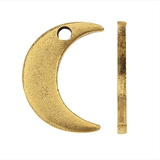 Nunn Design Flat Tag Charm, Crescent Moon 15.5mm, Antiqued Gold Plated