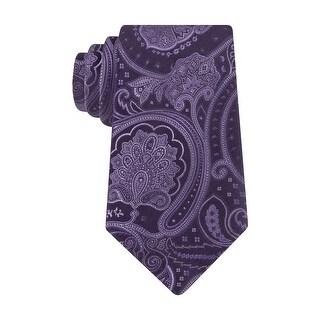 Club Room Estate Neckwear Power Paisley Slim Silk Tie Necktie Purple