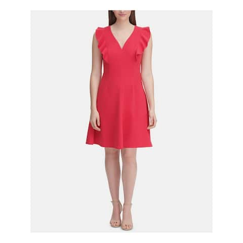 TOMMY HILFIGER Red Sleeveless Knee Length Fit + Flare Dress Size 18