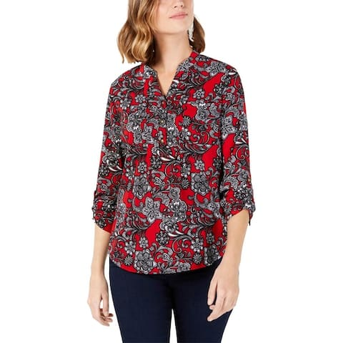 NY Collection Womens Petites Henley Top Cuffed