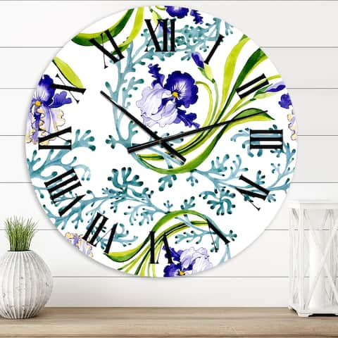 Designart 'Blue Iris With Wild Spring Leaves' Traditional wall clock