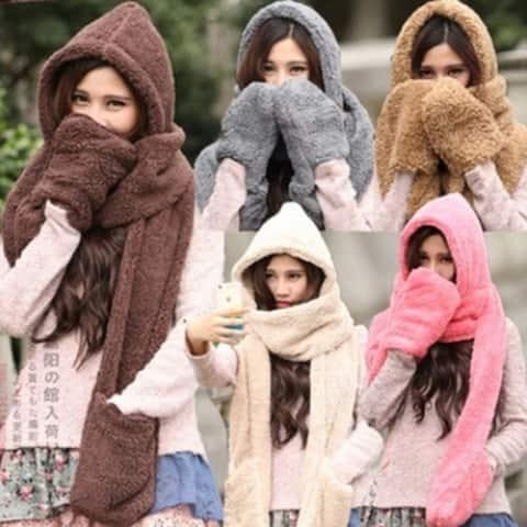 3 In 1 Women Winter Warm Fleece Hood Scarf Snood Pocket Hats Gloves