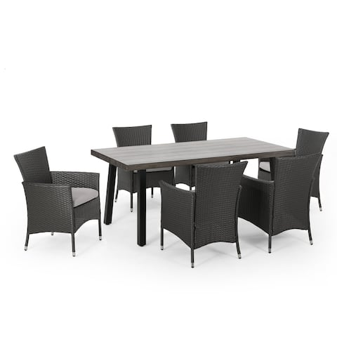 Pointe Outdoor 7 Piece Aluminum Dining Set with Wicker Chairs by Christopher Knight Home