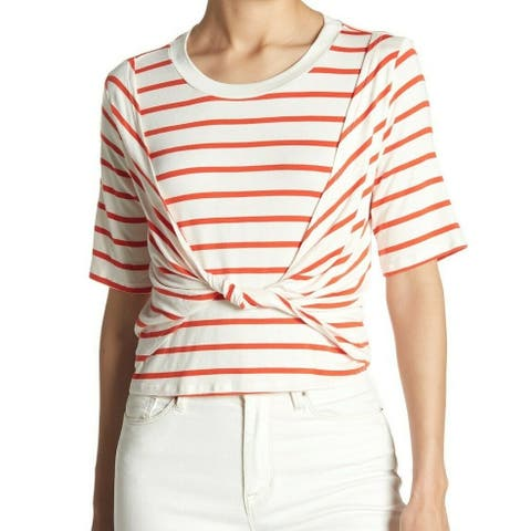Abound Women's White Striped Twisted Purple Size Large L Knit Top