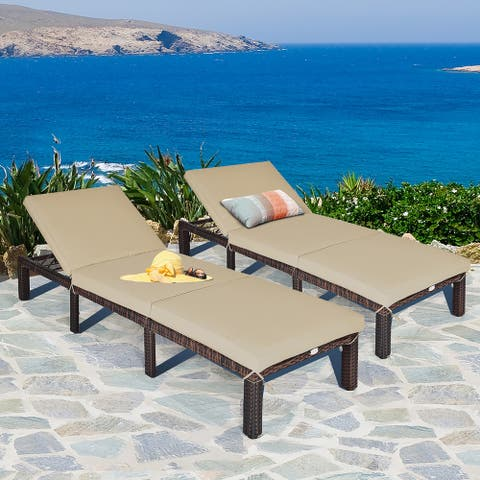 Costway 2PCS Outdoor Rattan Lounge Chair Chaise Recliner Adjustable - See Description