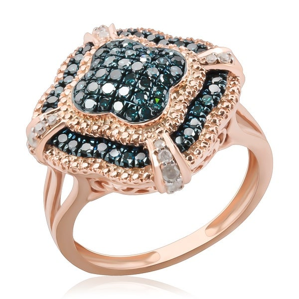 Designer Ring, 0.66ct Round Brilliant Cut Blue Color Diamond with Diamond - White G-H