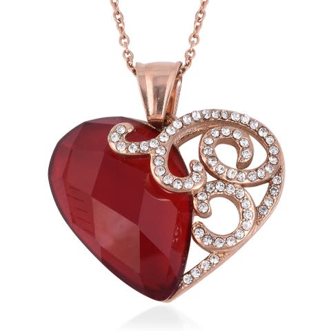 Steel Rose Gold Red Glass Crystal Necklace Pendant Size 20 Inch - Necklace 20''