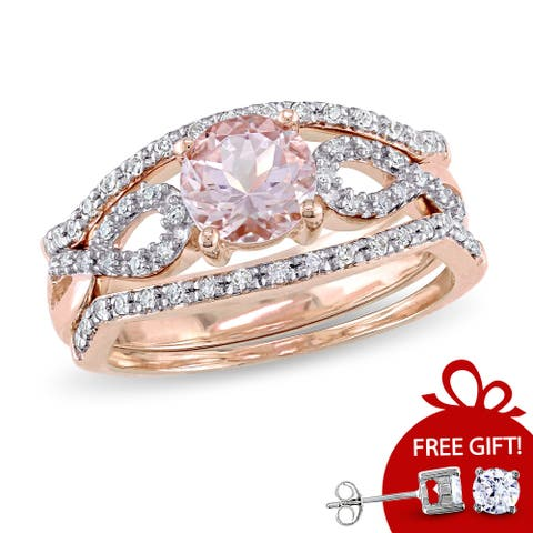 Miadora Signature Collection 10k Rose Gold Morganite and 1/5ct TDW Diamond Infinity Bridal Ring Set - Pink