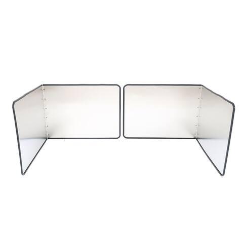 "Stainless Steel Foldable Kitchen Wall Oil Splash Guard Block 11.8"" x 7.8"" 2pcs"