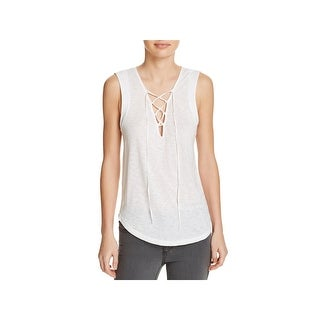 Splendid Womens Casual Top Lace-Up Burnout