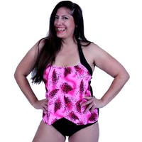 One Piece Front Draped Halter Tie Swim in Pink/Black Graphic Print