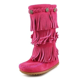 Minnetonka 3-Layer Fringe Boot Round Toe Suede Mid Calf Boot