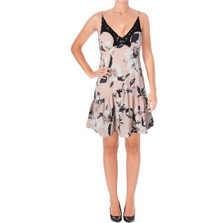 Aqua Womens Slip Dress Floral Print Lace Trim - XS